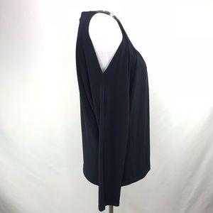 MICHAEL Michael Kors Tops - Michael Kors Black Cold Shoulder Leather Straps Lg